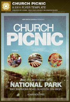The Church Picnic Flyer Template is sold exclusively on graphicriver, it can be used for your Church Events, Gospel Concert etc, or for any other marketing projects. The file includes 2 High Resolution Flyers with several color options for easy editing.