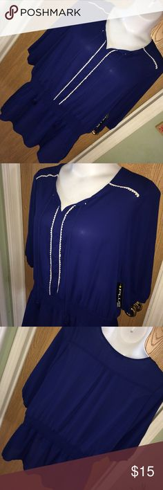 """Navy blue & white trim boho chiffon top Brand new navy blue chiffon boho top with white embroidered trim and tassels on the chest. Elastic waist and sleeve cuffs. Size 3x. 29"""" from armpit to armpit, 21"""" from armpit to hem. Plus Moda Tops Blouses"""