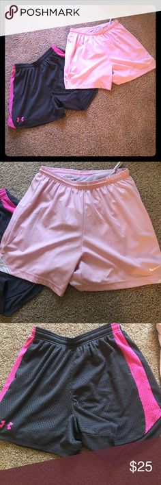 Nike and Under Armor Pink Shorts Bundle Small Nike and Under Armor Pink Shorts Bundle Small/Medium. Under Armor is small and Nike is Medium. Nike Shorts