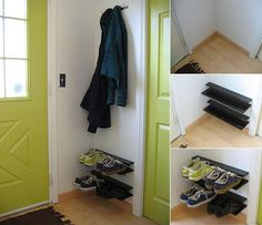 DIY, how to make a modern space-saving shoe rack for your entryway or mud room. Keep shoes off of the floor!