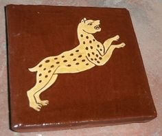 Leopard, from medieval manuscript (sgraffito tile by Tanglebank Tiles)