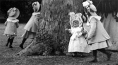 The Grand Duchesses playing the park at Tsarkoe Selo. How ridiculously adorable is Anastasia in her enormous hat?