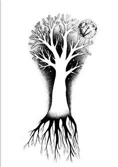 Tree of life A3 black ink dotwork  tato design for my fiend  https://www.facebook.com/cipananatalia/?ref=hl