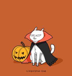 Lingvistov.com - #illustrations, #doodles, #joke, #humor, #cartoon, #cute, #funny, #comics, #greeting #cards, #joke, #drawing, #cats,  #halloween