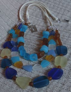 3 Strand Recycled Glass Necklace with Sterling Silver and Ultra Micro Fiber Suede