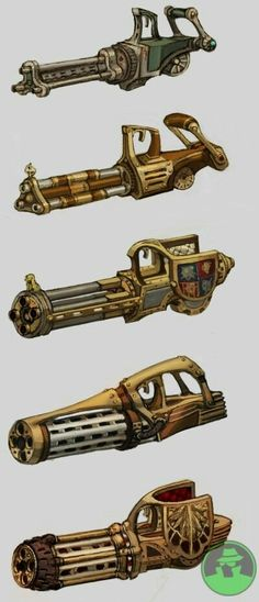 i like how these designs show an arm cannon like weapons and how it can change so easily Anime Weapons, Sci Fi Weapons, Weapon Concept Art, Weapons Guns, Fantasy Weapons, Arma Steampunk, Steampunk Weapons, Medieval Weapons, Steampunk Design