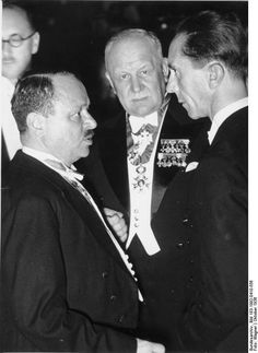 Joseph Goebbels with Herzmansky and Franz Lehár at the 9th International Composers Convention, Berlin, Germany, Oct 1936