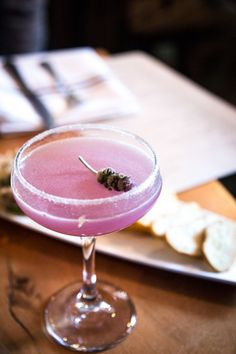 An Update on the Sidecar: Lavender-infused Remy V, Combier triple sec, Luxardo maraschino liqueur, fresh lemon, lavender, and a vanilla-sugar rim.