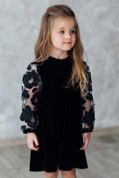 Black Baby Girl Dress, Wedding Baby Dress, girls dress pattern, special occasion dress with long sleeve, baby outfit Baby Girl Party Dresses, Dresses Kids Girl, Baby Dress, Velvet Dress Designs, Black Baby Girls, Baby Girl Dress Patterns, Kids Gown, Cute Outfits For Kids, Kendall