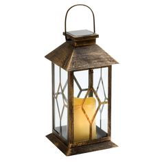 The weathered finish on our solar lantern brings rustic charm to any space. An LED candle housed within stylish diamond-shaped panes provides up to 8 hours of flickering light.