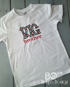 Sibling Big Brother Multi   This listing is for a custom Big Brother shirt. This design is machine embroidered directly on to the shirt. No stickers or iron ons used at our shop.      Comes in sizes:  Onesies: 0-3 month, 3-6 month, 6-12month  Shirt: 12m, 18m, 24m 3T, 4T, 5T