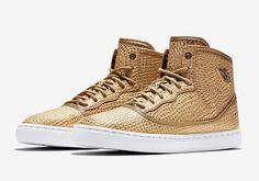 The Jordan Shoe Inspired By MJ's Daughter Goes Metallic Gold Silhouette Design, Michael Jordan, Jordan Shoes, Snake Skin, Reebok, Air Jordans, High Top Sneakers, Adidas Sneakers, Kicks