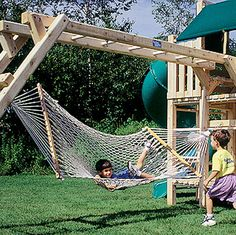 SuperSnooze Hammock - great idea to attach to playground equipment. Our hammock is going up on the swing set tomorrow. Kids Outdoor Play, Outdoor Play Spaces, Backyard For Kids, Outdoor Fun, Indoor Play, Outdoor Play Structures, Build A Playhouse, Backyard Playground, Playground Ideas