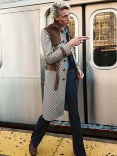 Lucky Blue Smith... Men's Gucci coat