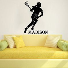 Wall Decals Custom Boys Name Personalized Girls Name Lacrosse Player Sports Nursery Kids Gift Wall Vinyl Decal Stickers Bedroom Murals -- Find out more about the great product at the image link.