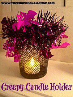 Creepy Candle Holder - Dollar Store Halloween DIY