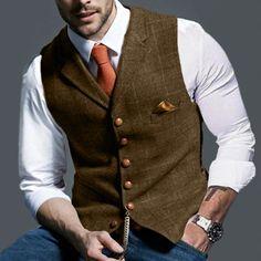 Mens Suit Vest, Mens Suits, Moda Formal, Checked Suit, Business Casual Men, Business Fashion, Dark Khaki, Plaid Jacket, Suit Jacket