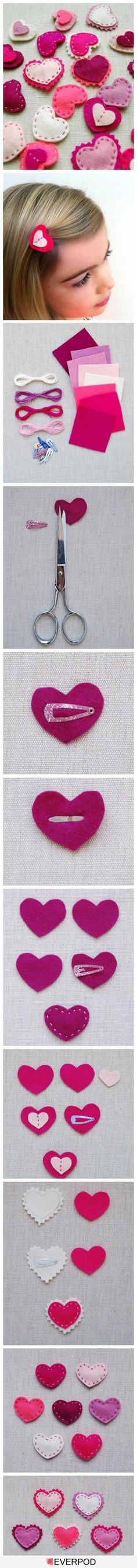 Felt heart hair clip - easy DIY