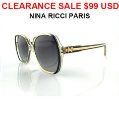 RARE AND FANTASTIC VINTAGE NINA RICCI SUNGLASSES NEW OLD STOCKLATE 1970'S/EARLY 1980'S MODEL 155 - FRAME CLEAR/BLACK - LENS GREY MADE IN FRANCE - INTERNAL MEASURES  54-18-135 -NO CASE INCLUDED* All prices in US Dollars* Shipping Approximately 7-14 days WORLDWIDE -$20 USD* Payment is by Secure PAYPAL*All DESIGNER items for sale are 100% Original and AuthenticPlease note: As with all vintage or new items there may be imperfections