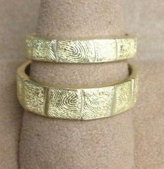 Fingerprint wedding bands in 18 K yellow Gold by Sarah Graham Metalsmithing Fingerprint Wedding Bands, Sarah Graham, 3d Printing Industry, Fine Jewelry, Jewelry Making, 3d Printed Jewelry, Sculptural Fashion, Jewelery, Wedding Rings