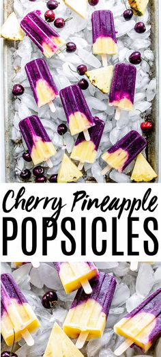 homemade popsicles healthy Cherry and pineapple are a match made in heaven especially when paired together in these Cherry Pineapple Popsicles. An icy summer treat thats per Homemade Popsicles Healthy, Healthy Popsicle Recipes, Ice Pop Recipes, Ice Cream Recipes, Dessert Recipes, Summer Recipes, Healthy Recipes, Pineapple Popsicles, Smoothie Popsicles