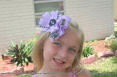 Lilac Skull Zebra Hair Bow by Sammy by SammyBananysHairBows.  We are on fb and create any bow you can imagine