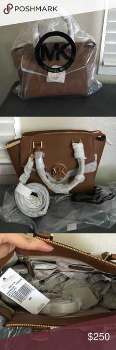 Michael Kors MD Satchel brown Authenic brand new with tag. Hudson Luggage MD Satchel Leather. Very nice purseremovable strap for crossbody too, or without just for hand carry, supplier cute carry out goes with any outfit. Michael Kors Bags Crossbody Bags