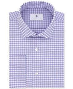 Ryan Seacrest Distinction Men's Slim-Fit Non-Iron Grappa Check French Cuff Dress Shirt, Only at Macy's - Purple 1