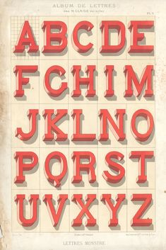 """N. Glaise alphabet """"Lettres Monstre,"""" from 1882. I don't think I'll ever get tired of looking at his paintings."""
