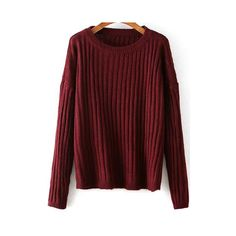 Round Neck Chunky Knit Wine Red Sweater ($18) ❤ liked on Polyvore featuring tops, sweaters, red, pullover sweater, round neck sweater, chunky knit sweater, wine top and loose sweater