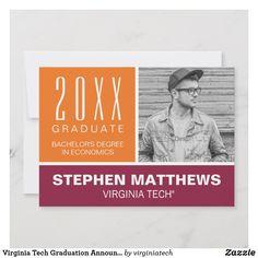 Shop Virginia Tech Graduation Announcement created by virginiatech. Va Tech Football, Virginia Tech Football, Virginia Tech Hokies, Graduation Announcement Cards, She Believed She Could, Big News, Yet To Come, College Graduation, Economics