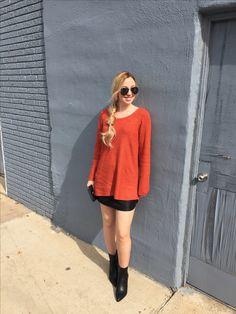 Fall Fashion  Leather Mini + Rust Sweater + Black Booties