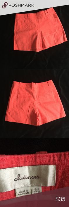 Anthropologie Orange Linen Short Perfect looking short with side zip. Linen type material, Dry Clean only. Only worn a couple of times. Anthropologie Shorts Skorts