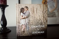 Guest book with engagement pictures. Guests sign where there are blank spaces or pages.