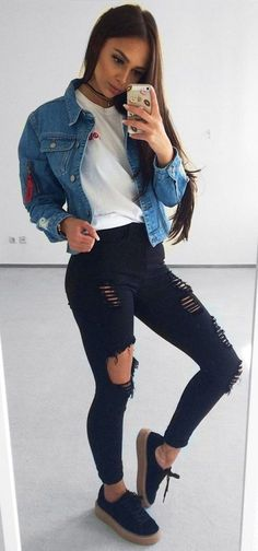 #Summer #Outfits / Denim Jacket + Black Skinny Ripped Pants
