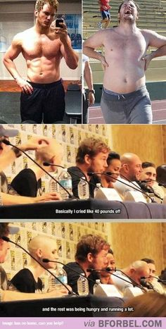 Chris Pratt just successfully summed up trying to lose weight....crying lol