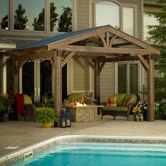 Tin roof over pergola.