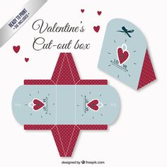 Valentines day box in red and blue color Free Vector - ready to print Paper Toys, Paper Gifts, Valentine Day Boxes, Valentines, Valentine's Day Printables, Cute Box, Magic Box, Packing Boxes, Pretty Packaging