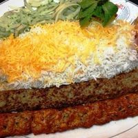 Afghan Kabab Koobideh~ | add red pepper, use chicken | 1 ½ pounds ground beef (80-85% lean) 1 pound ground lamb (80-85% lean) 1 ½ medium yellow onions, quartered 3 garlic cloves, peeled and minced 1 egg 1 tsp salt 1 tsp sumac (An spice sold at the Middle Eastern markets) ½ tsp ground black pepper ½ tsp turmeric powder ¼ cup butter, melted (for brushing over the kabobs after grilling) | 400F ~20m or broil both sides 5-7m each