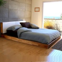 Beautiful king platform modern bed with thick comforter