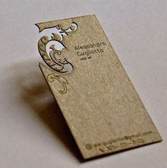 Simply beautiful Alessandro Gugliotta Laser Cut Business Card in Floral Shape created by B-Type Design