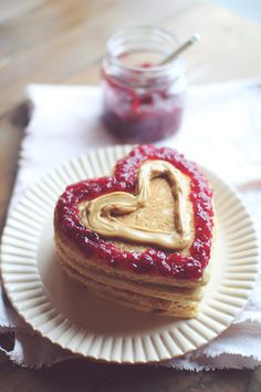 PB and J Heart Pancakes