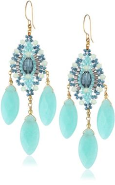 Lovely beading: Miguel Ases Green Quartz and Rainbow Hydro-Quartz Chandelier Earrings
