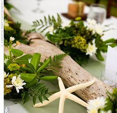 For a truly beachy style, Kimo's mom decorated the couple's head table with a green runner, driftwood, starfish, and greenery.