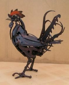 Rooster metal sculpture