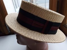 c92d9a34e04 Vintage Straw boater hat Skimmer Straw Hat Great Gatsby hat Sailor hat Straw  Panama sun hat