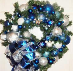 Blue Sliver Christmas Wreath