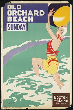 Art Poster - Old Orchard Beach - Maine - Vintage Travel Poster - collection at the Boston Public Library Free Vintage Posters, Vintage Travel Posters, Poster Wall, Poster Prints, Wall Prints, Old Orchard Beach Maine, Beach Posters, Yoga Posters, Railway Posters