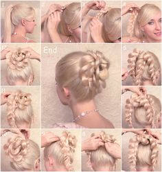 Braided ponytail into a cute bun!
