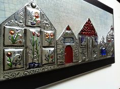 Michael Strong Houses Stamp on Pewter Wall Plaque